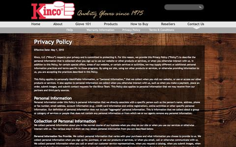 Screenshot of Privacy Page kinco.com - Privacy Policy | Kinco International - captured Oct. 6, 2014