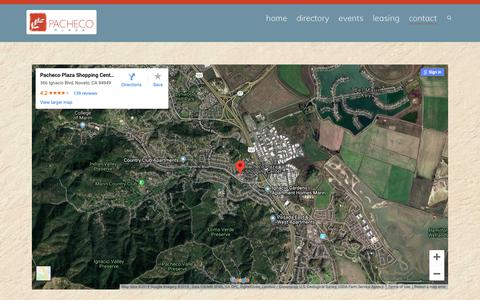 Screenshot of Contact Page Maps & Directions Page pachecoplaza.com - Map | Pacheco Plaza Novato : Novato Shopping Center - captured Oct. 18, 2018