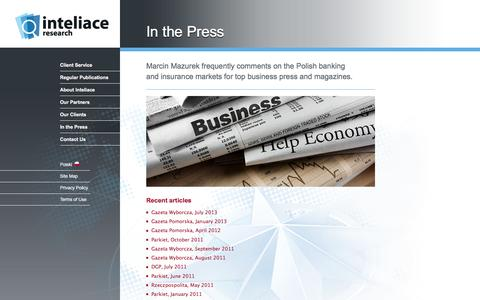 Screenshot of Press Page inteliace.com - Recent comments on the Polish banking and insurance markets by Marcin Mazurek - captured Jan. 20, 2016