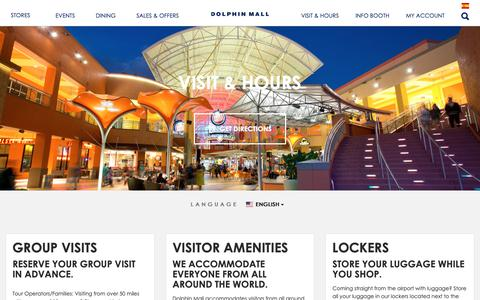 Screenshot of Hours Page shopdolphinmall.com - Visit & Hours - captured Oct. 19, 2018