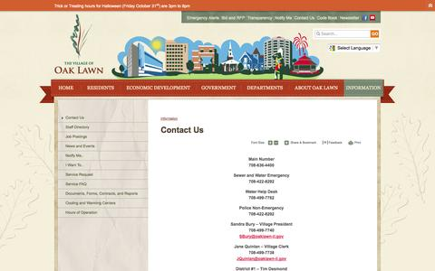 Screenshot of Contact Page oaklawn-il.gov - Village of Oak Lawn : Contact Us - captured Oct. 26, 2014