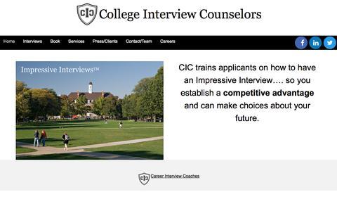 Screenshot of Home Page collegeinterviewcounselors.com - Home - College Interview Counselors - captured Nov. 9, 2016