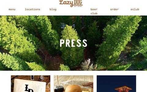 Screenshot of Press Page lazydogrestaurants.com - Lazy Dog Press Press Releases - captured Nov. 10, 2018