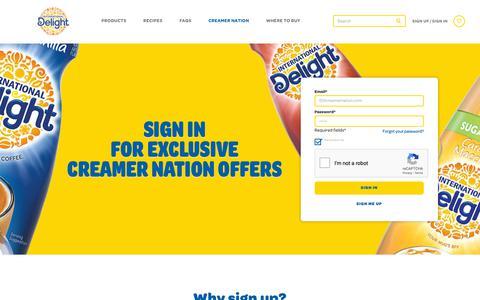 Screenshot of Signup Page Login Page internationaldelight.com - International Delight Coupons - Creamer Nation - captured Dec. 12, 2018