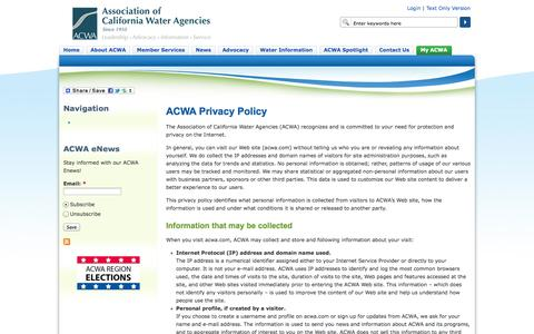 Screenshot of Privacy Page acwa.com - ACWA Privacy Policy | Association of California Water Agencies - captured Sept. 25, 2014