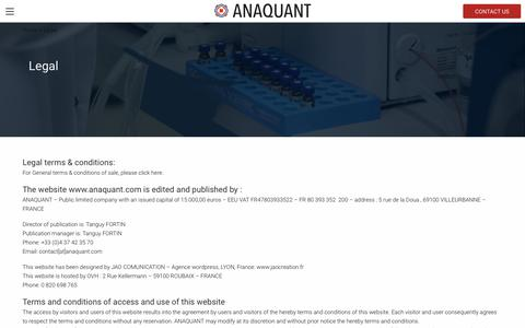 Screenshot of Terms Page anaquant.com - Legal | Anaquant biopharmaceutical development and analysis - captured Nov. 6, 2018