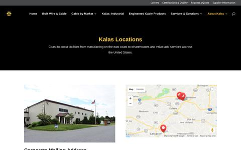 Screenshot of Locations Page kalaswire.com - Locations - Kalas Wire - captured Sept. 24, 2018