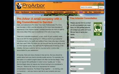 Screenshot of About Page proarbor.com - Pro Arbor: A small company with a Big Commitment to Service - Pro Arbor Tree Service - captured Dec. 12, 2015