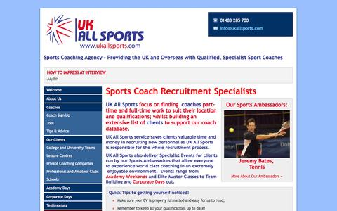 Screenshot of Home Page ukallsports.com - Sports Coaching Agency – Providing the UK and Overseas with Qualified, Specialist Sport Coaches - UK All Sports - captured Sept. 30, 2014