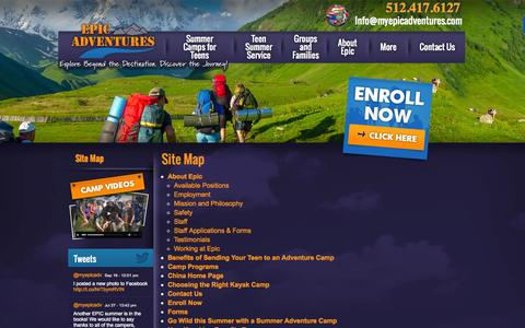 Screenshot of Site Map Page myepicadventures.com - Site Map | EPIC Adventures Summer Camps - captured Oct. 1, 2014