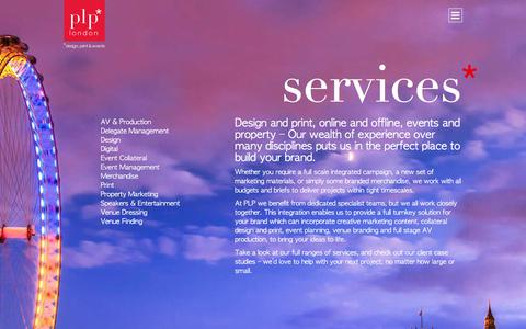 Screenshot of Services Page plplondon.com - Services - PLP London : PLP London | Full Service Design Agency - captured July 14, 2018