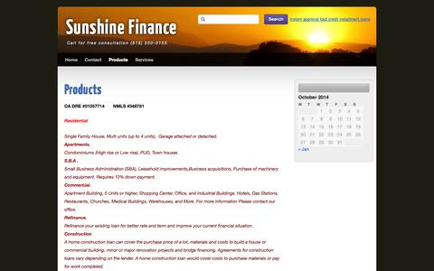 Screenshot of Products Page sunshine-finance.com - Products | Sunshine Finance - captured Oct. 8, 2014