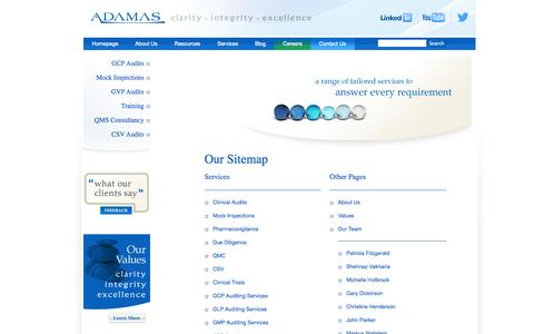 Screenshot of Site Map Page adamasconsulting.com - sitemap - captured Sept. 30, 2014