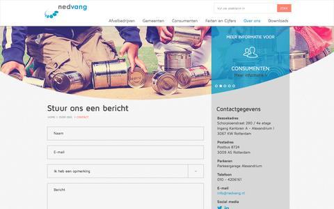 Screenshot of Contact Page nedvang.nl - Contact | Nederland van afval naar grondstofNedvang - captured Dec. 2, 2016