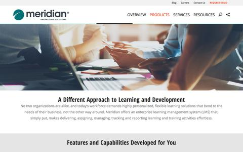 Screenshot of Products Page meridianks.com - Meridian | Learning Management System | Meridian Knowledge Solutions - captured Oct. 5, 2017