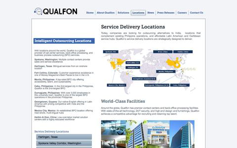 Screenshot of Locations Page qualfon.com - Service Delivery Locations - captured Oct. 2, 2014