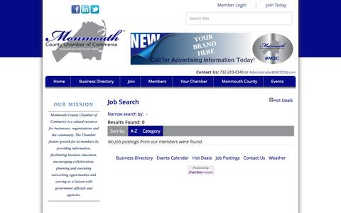 Screenshot of Jobs Page monmouthcountychamber.com - Job Search - Monmouth County Chamber of Commerce, NJ - captured June 22, 2016