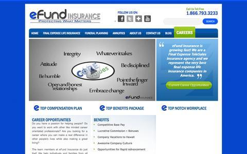Screenshot of Jobs Page efundinsurance.com - Careers | eFund InsuranceeFund Insurance - captured Sept. 30, 2014