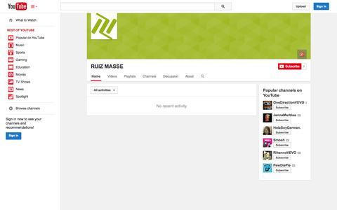 Screenshot of YouTube Page youtube.com - RUIZ MASSE  - YouTube - captured Oct. 26, 2014