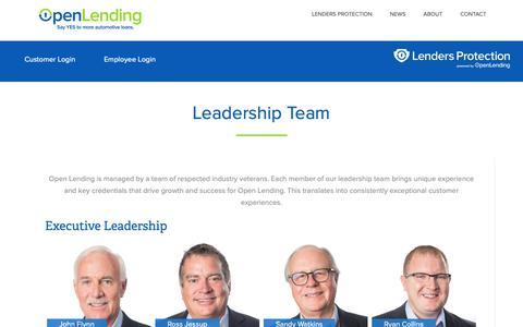 Screenshot of Team Page openlending.com - Leadership Team – Open Lending - captured Feb. 11, 2019