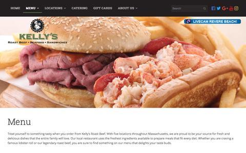 Screenshot of Menu Page kellysroastbeef.com - Local Restaurant | Menu - Massachusetts | Kelly's Roast Beef - captured June 9, 2017