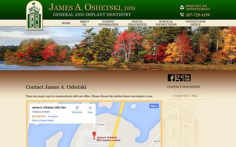 Screenshot of Contact Page droshetski.com - Dental Office | 14 Maine Street, Suite 409  Brunswick, ME 04011 - captured Oct. 6, 2014