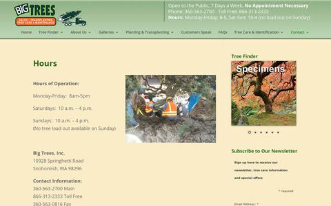 Screenshot of Hours Page bigtreesupply.com - Tree Transplanter | Tree Nurserys | Evergreens Trees | Big Tree Supply - captured July 1, 2018