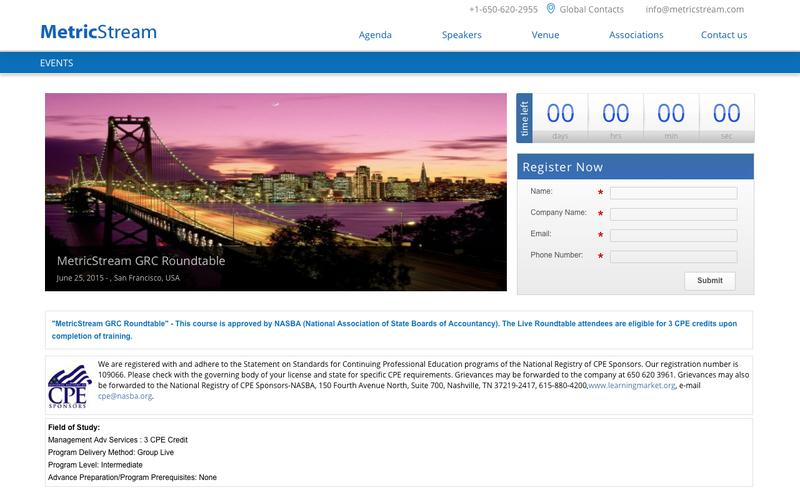 MetricStream GRC Roundtable in San Francisco, USA – Events