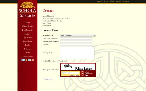 Screenshot of Contact Page scholaministries.org - Contact | Schola Ministries - captured Sept. 30, 2014