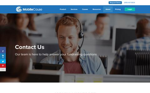 Screenshot of Contact Page mobilecause.com - Contact MobileCause - captured Aug. 4, 2019
