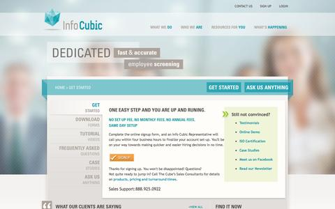 Screenshot of Signup Page infocubic.com - Get Started - captured Sept. 30, 2014