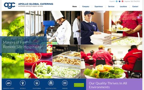 Screenshot of Home Page agcatering.com - Apollo Global Catering   Worldwide Catering & Support Services - captured Oct. 4, 2014