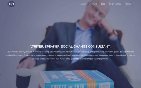 Screenshot of About Page davidpecklive.com - Keynote Speaker and Social Change Consultant David Peck - captured May 22, 2016