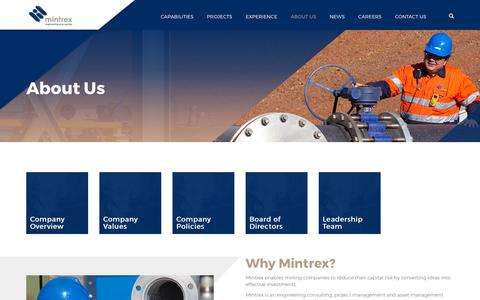 Screenshot of About Page mintrex.com.au - Mintrex - Engineering Consultants, Project Management - captured Sept. 21, 2018