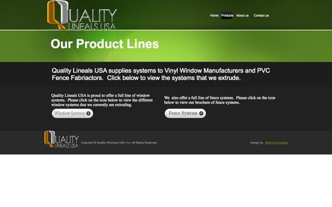 Screenshot of Products Page qualitylinealsusa.com - contact - captured Oct. 3, 2014