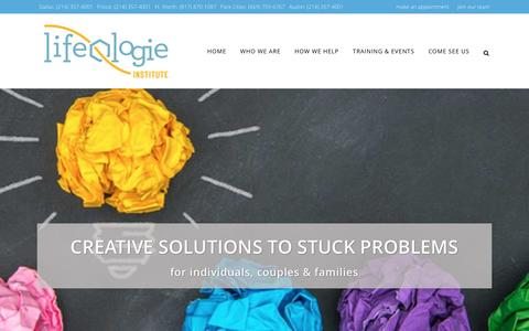 Screenshot of Home Page wefixbrains.com - Lifeologie Institute | Creative solutions for stuck problems - captured Dec. 1, 2016