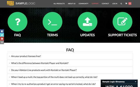 Screenshot of Support Page samplelogic.com - Support - Sample Logic LLC. - captured Nov. 19, 2016
