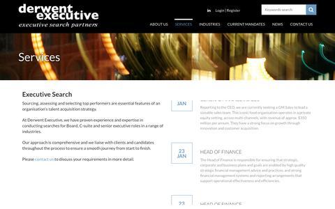 Screenshot of Services Page derwentexecutive.com.au - Executive Search  | Derwent Executive - captured Jan. 28, 2017