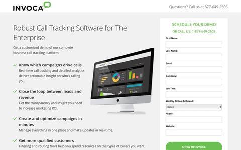Screenshot of Landing Page invoca.com - Call Tracking Demo | Invoca - captured Dec. 12, 2016