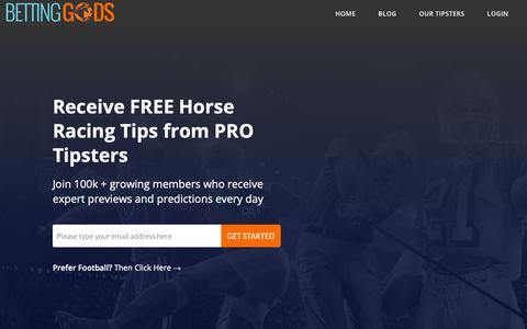 Screenshot of bettinggods.com - Betting Gods | Professional Sports Tipsters and Betting Experts - captured Nov. 3, 2018