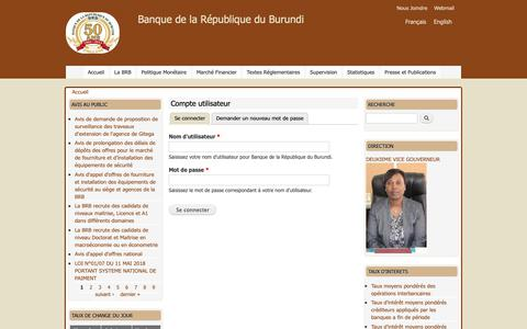 Screenshot of Login Page brb.bi - Compte utilisateur | Banque de la République du Burundi - captured Oct. 29, 2018