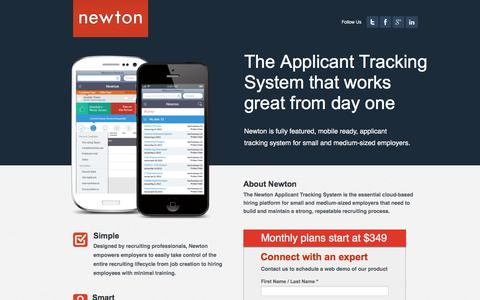 Screenshot of Landing Page newtonsoftware.com - Mobile Applicant Tracking System | Newton Software - captured April 19, 2017