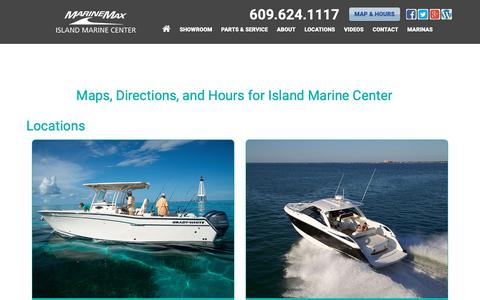 Screenshot of Locations Page imboats.com - Maps, Directions, and Hours for Island Marine Center near Sea Isle City, New Jersey, Ocean City, Somers Point, Avalon, Stone Harbor, & Cape May, NJ | Island Marine Center Dealership - captured Oct. 13, 2018