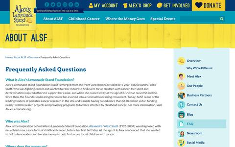 Screenshot of FAQ Page alexslemonade.org - Frequently Asked Questions | Alex's Lemonade Stand Foundation for Childhood Cancer - captured June 27, 2019