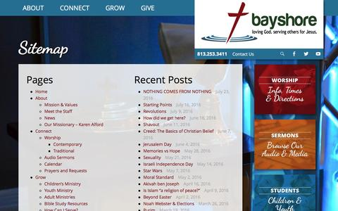Screenshot of Site Map Page bayshorebaptistchurch.com - Sitemap – Bayshore Baptist Church - captured July 28, 2016
