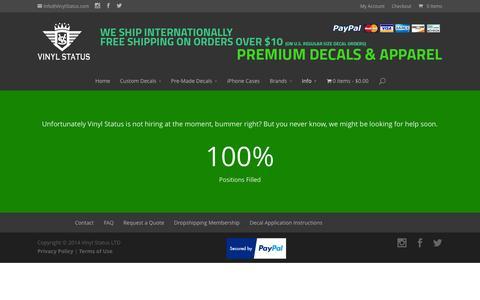 Screenshot of Jobs Page vinylstatus.com - Promoting and Jobs at Vinyl Status LTD - captured Oct. 7, 2014