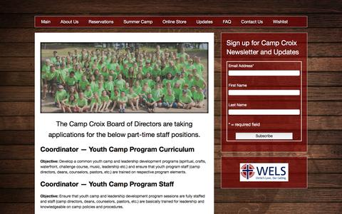 Screenshot of Jobs Page campcroix.org - Jobs - Camp Croix WELS Youth Bible Camp Danbury WI - captured Dec. 7, 2015