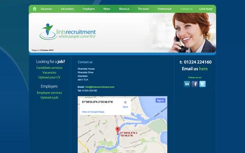Screenshot of Contact Page lintsrecruitment.com - Contact Us - Lints Recruitment Ltd - Aberdeen Recruitment Agency - captured Oct. 2, 2014