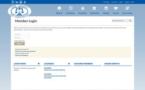 Screenshot of Login Page lakebar.org - Login - captured Sept. 26, 2018