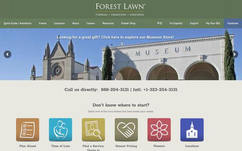 Screenshot of Home Page forestlawn.com - Forest Lawn - captured June 28, 2017